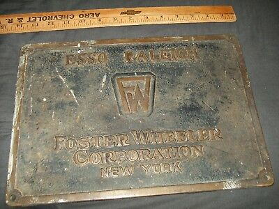 Vintage US World War WWII WW2 Brass Ship Plaque Esso Raleigh / USS Guadalupe