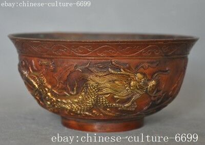 """5""""Marked old Chinese bronze Dragon Loong dragons Dynasty palace Tea cup Bowl"""