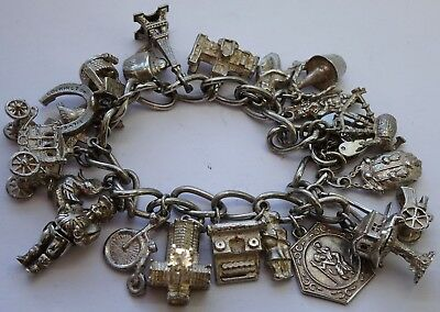 Stunning vintage solid sterling silver charm bracelet & 22 charms,rare,open,move