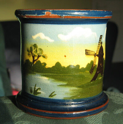 Antique Aller vale Devon hand painted faience rural scene pot 3.1/2 inches tall