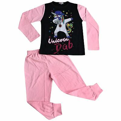 Kids Girls Designer Unicorn Dab Floss Baby Pink Pyjamas Loungewear Nightwear PJS
