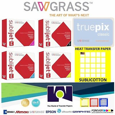 SUPER QUALITY SAWGRASS Combo, Ink Set CMYK + 100 Sh Each TruePix & SUBLICOTTON