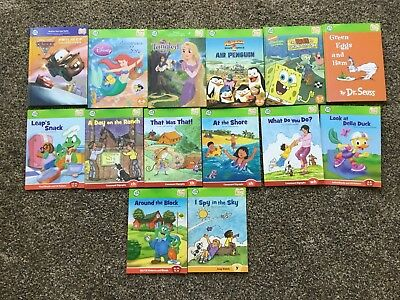 Lot of 14 Leap Frog TAG Books-Seuss, Cars, Tangled, Spongebob, Vowels - HC & SC