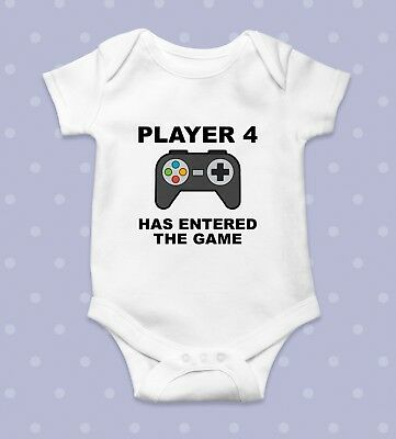 Player 4 Has Entered The Game Funny Baby Grow Body Grow Body Suit Babygrow
