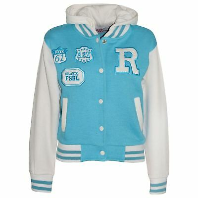 Kids Girls Boys Designer's R Fashion Baseball Aqua Hooded Jackets Varsity Hoodie
