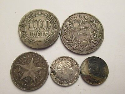 Lot of 5 Foreign Coins, 4 silver, mix dates, denominations, countries