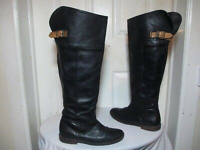 97011ce4b04 Frye Paige 77061 Wo S Blk Leather Buckled Over The Knee Tall Riding Boots  Us 7 B