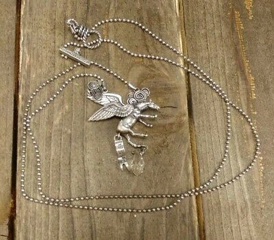 """Diesel Sterling Silver Horse Pendant Chain Toggle Necklace Approx. 36"""""""