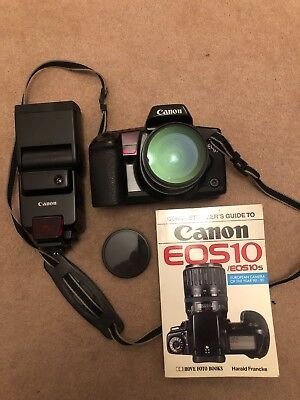 Canon EOS 10 35mm film camera with 24mm lense with Canon Speedlite 430EZ flash