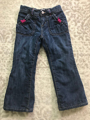 Toddler Girls 4T Old Navy Pink Fleece Lined Blue Jeans Cute Warm Great Condition