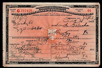 Prohibition Prescription Kenneth Whiskey Rx Doctor Pharmacy Bar PA Antique 1925