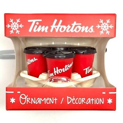 2018 TIM HORTONS CHRISTMAS TREE ORNAMENT Carry Out Tray Cups Coffee Canada NEW