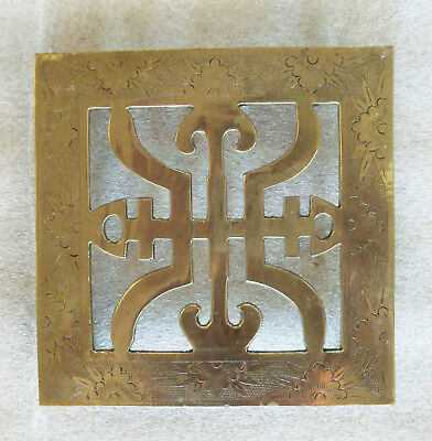 Vintage Engraved Chinese Asian Symbols Letters Brass Trivet w/ Ball Feet