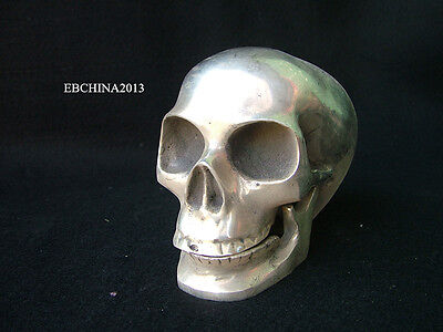 5'' Old China Fengshui Collect Tibet Silver Cupronickel Human Skull Statue