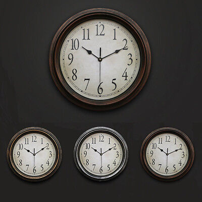 Vintage Wall Clock Non-Ticking Silent Antique Office Decorative Round Analog