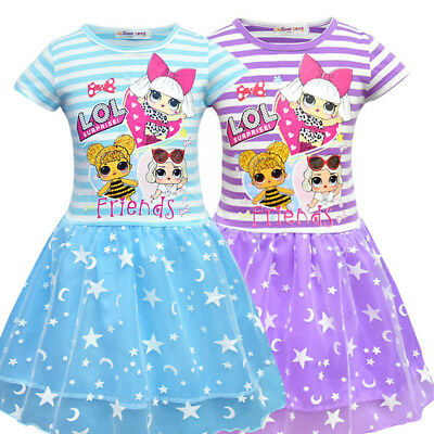 Kids Girls LoL Surprise Dolls Game Dresses Stripe Lace Princess Dress 3-10Y