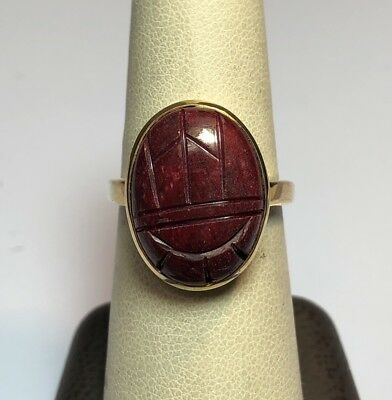 Gold Vermeil Sterling Silver DMSK Egyptian Scarab Beetle Ring Size 7 3/4