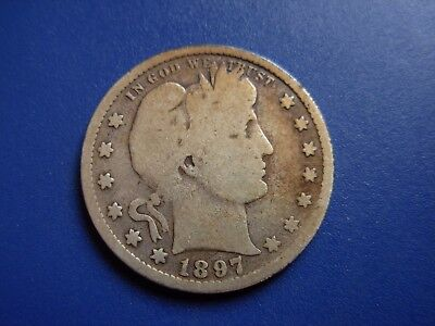 Very nice original semi key date 1897-S Barber quarter. Strong date and rims.