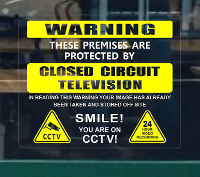 4 x Warning Stickers Signs Security Safety Smile You CCTV Video Camera Window