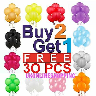 30 X Large PLAIN BALOONS BALLONS helium BALLOONS Quality Party Birthday Wedding'