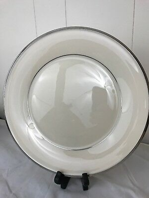 "Lenox Solitaire Platinum Rimmed Dinner Plate 10.5"" 12 available Mint"