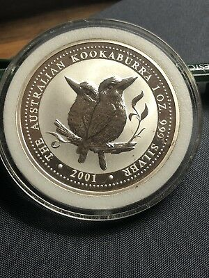 Australia Proof 1oz Fine Silver Kookaburra 2001 in capsule. MINT
