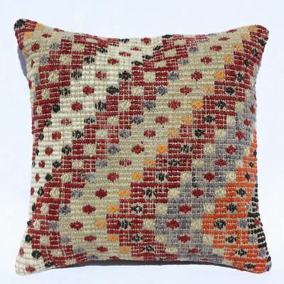 Turkish Kilim Pillow 16x16, Kilim Rug Cushion Cover, Striped, Red, White, Beige
