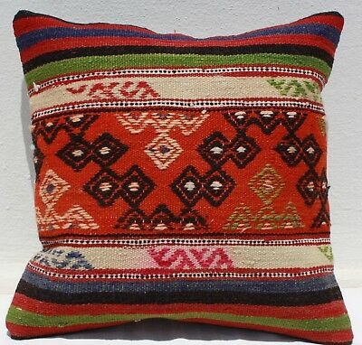 "TURKISH KILIM RUG PILLOW CUSHION COVER HAND WOVEN WOOL 17"" x 17"""