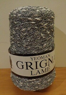 NEW - Yeoman Grigna Lame Grey/White with Silver Thread - Wool on Cone 421 g