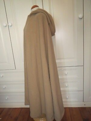 Vintage 100% Pure Cashmere Hooded Full Length Camel Cape Coat - One Size S M L