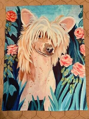 Chinese Crested Garden Flag (standing in pink flowers)