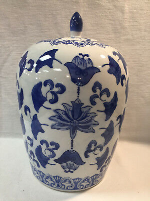 Vintage Chinese Porcelain Ginger Jar Blue and White with Lid Handpainted 11''.