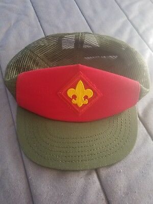 VIntage Boy Scouts of America Adult Size Baseball Cap Hat Snapback Olive Red BSA