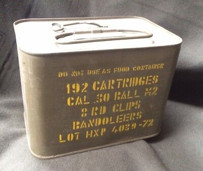 Vintage Metal Ammo Box Ammo Can 192 CAL .30 Ball M2 Bandoleers Military Army HXP