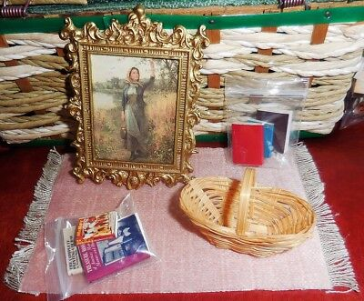 """3"""" Framed painting mini & books, basket, mauve rug, lot for dollhouse collection"""