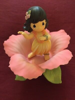 PRECIOUS MOMENTS HULA GIRL HIBISCUS FIGURINE NEW - Hawaii Exclusive