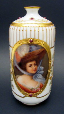 Antique Hand Painted Vienna Dresden Female Portrait Vase Wagner Early 1900s