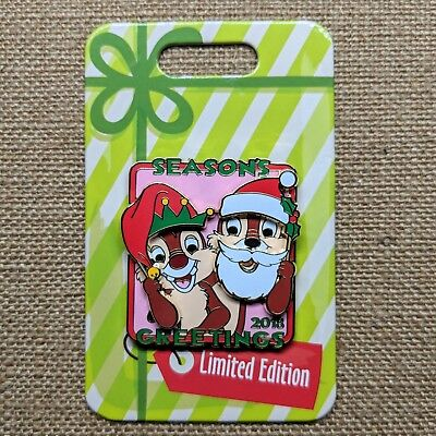 Chip and Dale Seasons Greetings Hinged Pin 2018 Disney Christmas Holiday LE 5000