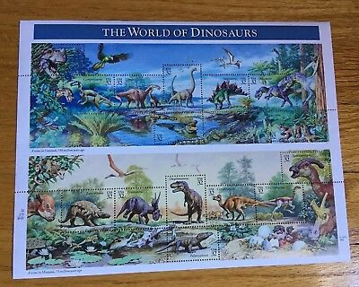 Us Scott 3136 Pane Of 15 Dinosaurs 32 Cents Face Mnh