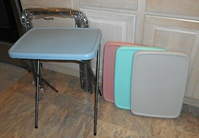 NEW IN BOX 4 Vtg 1989 COSCO/TUPPERWARE COLORS 15-711-RBW TV TRAY TABLES Plastic