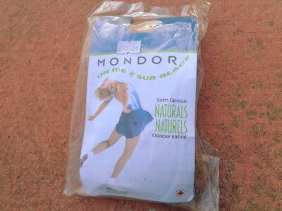 New MONDOR On Ice Satin Opaque Naturals Tights - Suntan 10-12. Made in Canada
