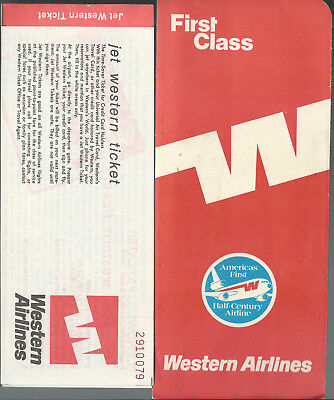 """""""WESTERN AIRLINES"""" Vintage *TICKET & TICKET COVER/JACKET* Used 1960s ExCondition"""