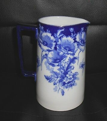 Victorian Period Royal Doulton Blue & White Pottery Milk / Water Jug