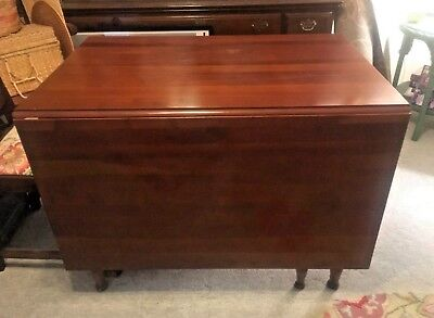 Antique HENKEL HARRIS Solid Wild Black Cherry Dropleaf Table Made in USA