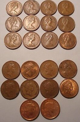 Great Britain Uk One Penny & New Penny Mixed Dates Lot Of 22 Coins