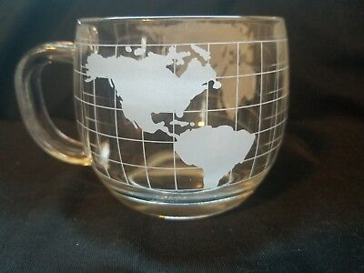 Nestle Nescafe Etched World Map 1970s Colonial Cupboard ITD Glass Coffee Cup
