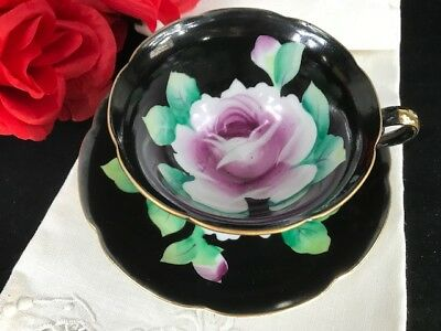 Vintage Hand Painted Japan Large Cabbage Rose Black Cup and Saucer