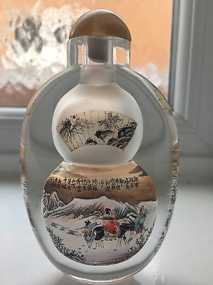 Stunning Chinese Inside Painted Crystal Glass Snuff Bottle