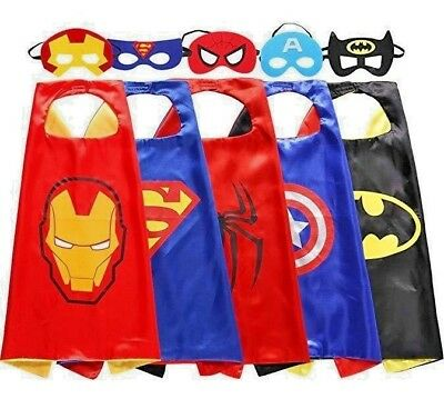 5 Set Superhero Capes and Masks Costumes for Kids Cartoon Dress up party Flavor