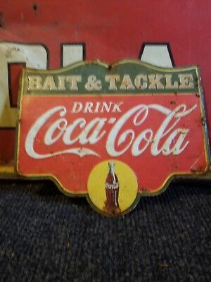 vintage old coca cola coke soda metal sign advertising gas oil bait tackle